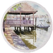 The Jetty Cochin Round Beach Towel by Lucy Willis