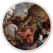 The Journey To Calvary, C.1540 Round Beach Towel