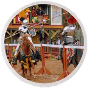 The Jousters 3 Round Beach Towel