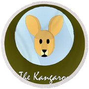 The Kangaroo Cute Portrait Round Beach Towel