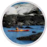 The Kayaker Round Beach Towel
