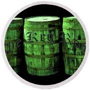 The Keg Room 3 Green Barrels Old English Hunter Green Round Beach Towel