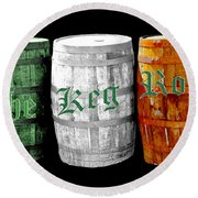 The Keg Room Irish Flag Colors Old English Hunter Green Wave Round Beach Towel