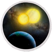 The Kepler 35 System Round Beach Towel