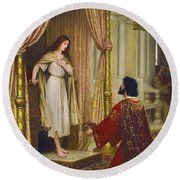 The King And The Beggar-maid Round Beach Towel