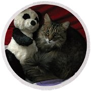 The King Kitty And Panda 01 Round Beach Towel