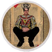 The King Of Hearts Round Beach Towel