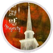 The King Of Majesty Round Beach Towel