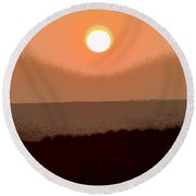 The King's Sunset - Stunning Painting Like Photograph Round Beach Towel