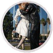 The Kiss - Sailor And Nurse - Sarasota  Round Beach Towel