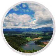 The Kootenai River Round Beach Towel