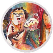 The Ladies Of Loket In The Czech Republic Round Beach Towel by Miki De Goodaboom