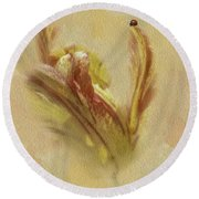 The Lady And The Parrot Tulip Round Beach Towel
