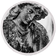 The Lady In Mourning 03 Bw Round Beach Towel