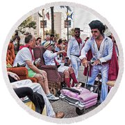 The Laissez Boys At Running Of The Bulls In New Orleans Round Beach Towel