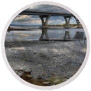 The Lake Champlain Bridge From Cown Point Round Beach Towel