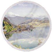 The Lake Of Lucerne, Mount Pilatus Round Beach Towel