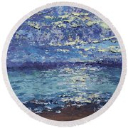 The Lake On A Cloudy Day In October Round Beach Towel