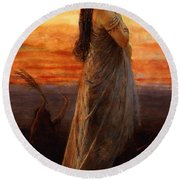 The Lament Of Jephthahs Daughter Round Beach Towel