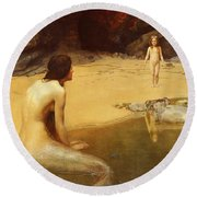 The Land Baby Round Beach Towel by Philip Ralley