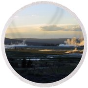 The Land Of Geysers. Yellowstone Round Beach Towel