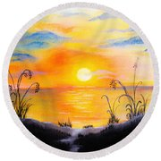 The Land Of The Dying Sun Round Beach Towel