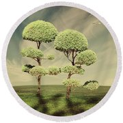 The Land Of The Lollipop Trees Round Beach Towel
