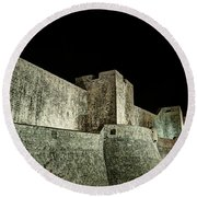 The Landside Walls Of Dubrovnik At Night No1 Round Beach Towel