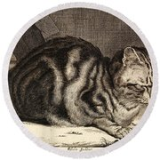 The Large Cat  Round Beach Towel