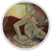 The Last Dream Before Dawn Round Beach Towel by Dorina  Costras