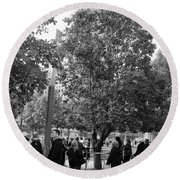 The Last Living Thing Pulled From The Rubble... The Survivor Tree In Black And White Round Beach Towel