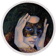 The Last Secret Round Beach Towel by Dorina  Costras