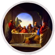 The Last Supper By Carl Heinrich Bloch Round Beach Towel