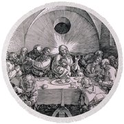 The Last Supper From The 'great Passion' Series Round Beach Towel by Albrecht Duerer