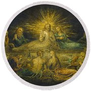 The Last Supper Round Beach Towel by William Blake