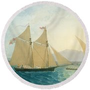 The Launch La Sociere On The Lake Of Geneva Round Beach Towel by Francis  Danby