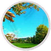 The Leaves Are Turning Golden... Round Beach Towel
