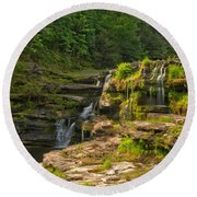 The Ledges Waterfalls Round Beach Towel
