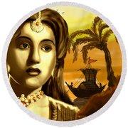 The Legend Actress Madhubala Round Beach Towel