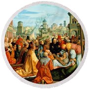 The Legend Of The Holy Cross Round Beach Towel