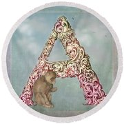The Letter A Round Beach Towel