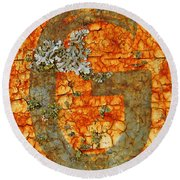 The Letter G With Lichens Round Beach Towel