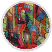 The Letter Zayin Round Beach Towel