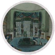 The Library, C.1820, Battersea Rise Round Beach Towel by English School