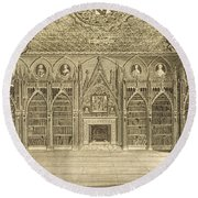 The Library, Engraved By Godfrey Round Beach Towel