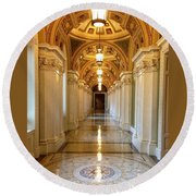 The Library Of Congress Jefferson Building Round Beach Towel