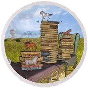 The Library Your Local Treasure Round Beach Towel