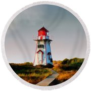 The Light At Covehead Harbour Round Beach Towel