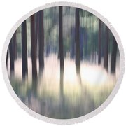 The Light Of The Forest Round Beach Towel