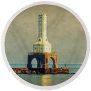The Lighthouse And The Fisherman Round Beach Towel